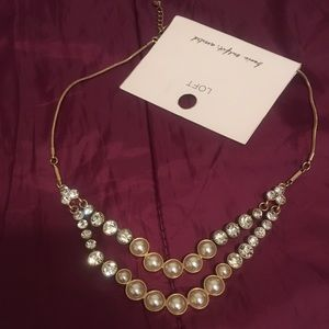 NWT - Loft pearlized multi-strand necklace - gold